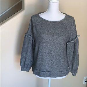 Loft sweater with ruffle sleeve